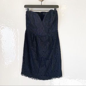 Adelyn Rae Blue Black Lace Strapless Dress